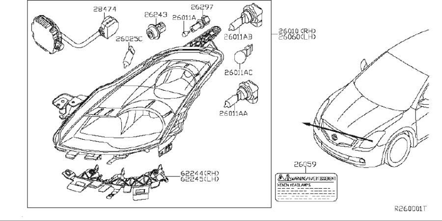 Nissan Altima Label Head Lamp. Label Headlight. AWD