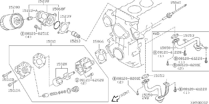 Nissan Frontier Engine Oil Filter Adapter Seal. System