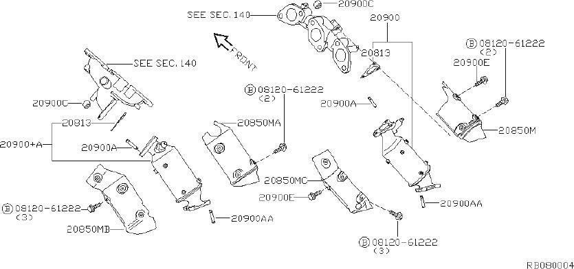 Nissan Frontier Catalytic Converter Heat Shield. EXHAUST
