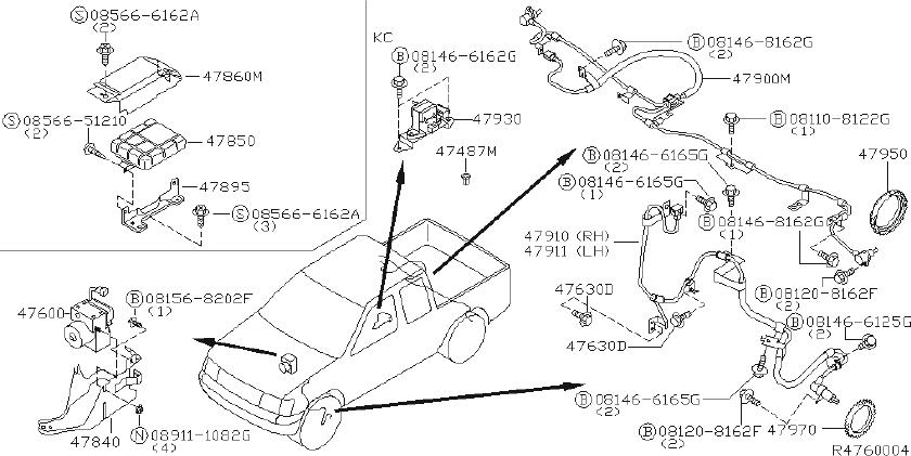 Nissan Frontier Abs wheel speed sensor wiring harness