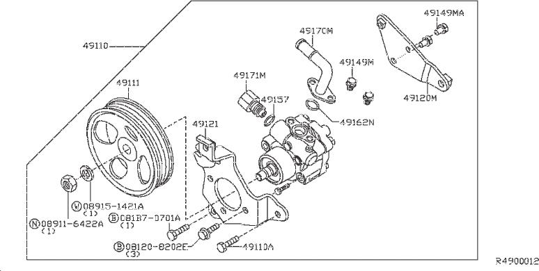 Nissan Frontier Connector Power Steering Pump. Suspension