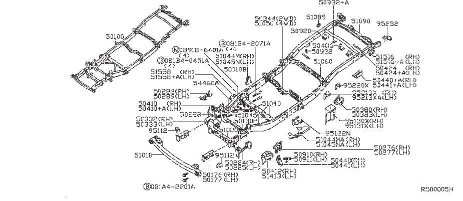 Nissan Frontier Frame Rail Bracket (Front). UNDER, COVER