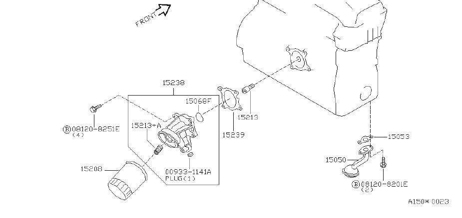 Nissan Maxima Engine Oil Filter Adapter Seal. System