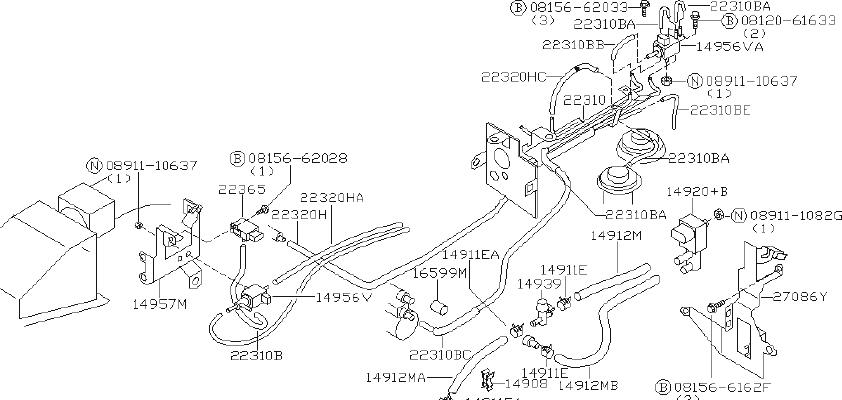 Nissan Xterra Vapor Canister Purge Solenoid. CAL, FED