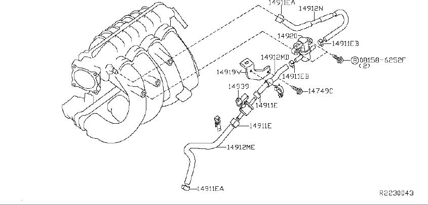 Nissan Altima Evaporative Emissions System Lines. REAR