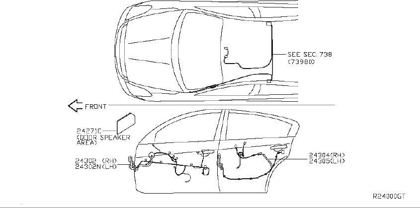 Nissan Altima Srs product harness body. System, navigation