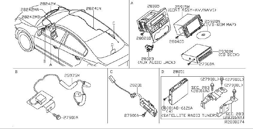 Nissan Altima Wire EARTH BONDING. AUDIO, ANTENNA, UNIT