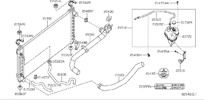 Nissan Altima Radiator Coolant Hose (Lower). COOLING