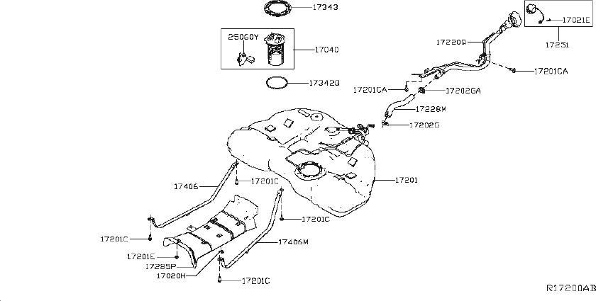 Nissan Altima Fuel Level Sensor. Sender Unit Fuel Gauge
