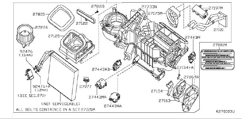 Nissan Xterra Service File Evaporator. (Front). HEATER