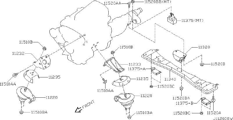 Nissan Pathfinder Manual Transmission Mount (Rear). Engine