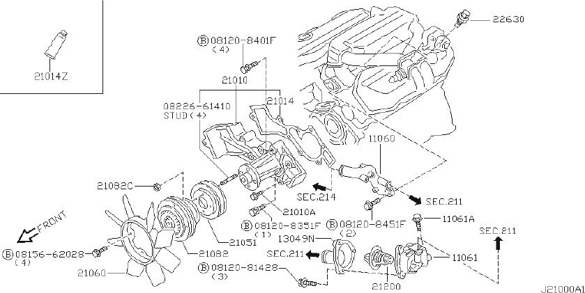 Nissan 300ZX Engine Coolant Thermostat Housing. COOLING