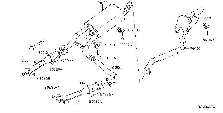 Nissan Pathfinder Catalytic Converter (Front). EXHAUST