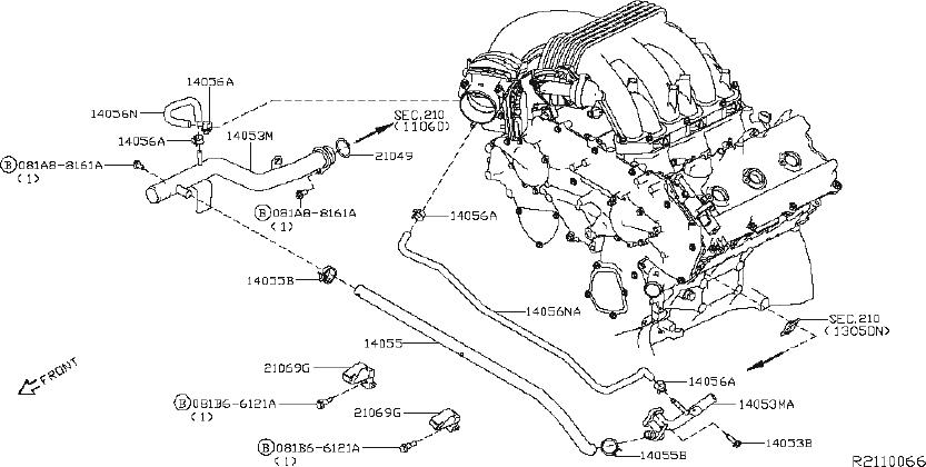 Nissan Pathfinder Engine Coolant Pipe Bolt. WATER, PUMP