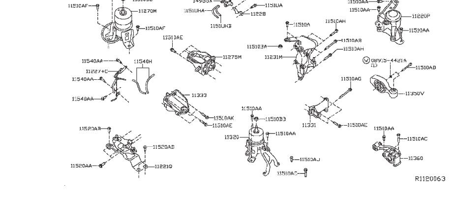 Nissan Pathfinder Frame Rail End Bolt. MOUNTING, AWD, CVT