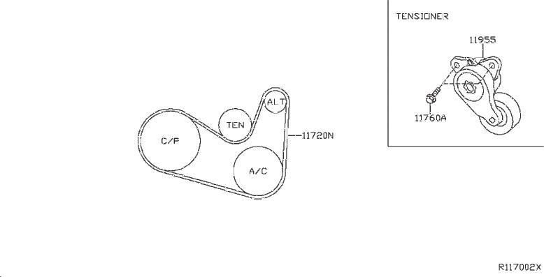 Nissan Pathfinder Belt Tensioner Bolt. MTG, REDUCTION