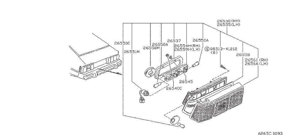 Nissan 200SX Lens Combination Lamp. (Left). System, REAR