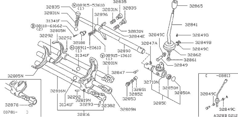Nissan 720 Boot Rubber. Bushing Control Lever H EAD. SPEED