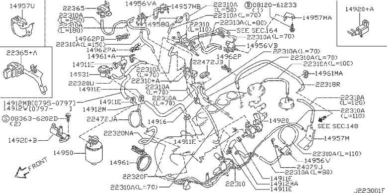 Nissan 240SX Harness Engine Sub. Harness Sub, Solenoid