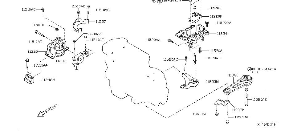 Nissan Versa Bracket Engine Mounting. (Rear). TRASMISSION