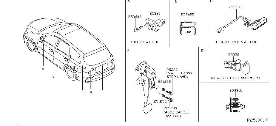 Nissan Rogue Liftgate Ajar Indicator Switch. PREM, INST