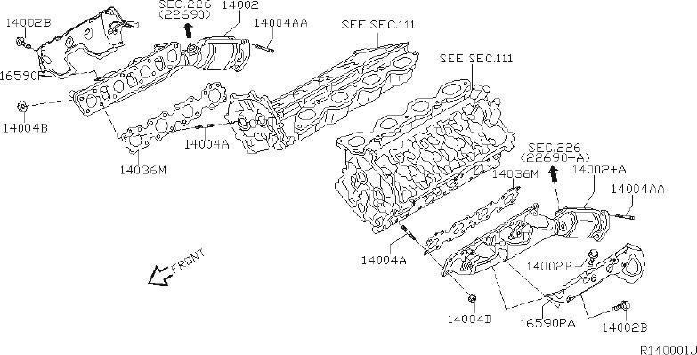 Nissan Armada Catalytic Converter With Integrated Exhaust