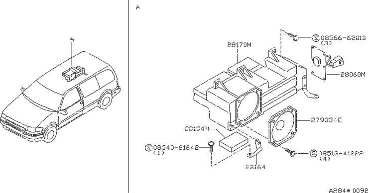 Nissan Quest Bracket Speaker. (Left, Rear). FED, CAL
