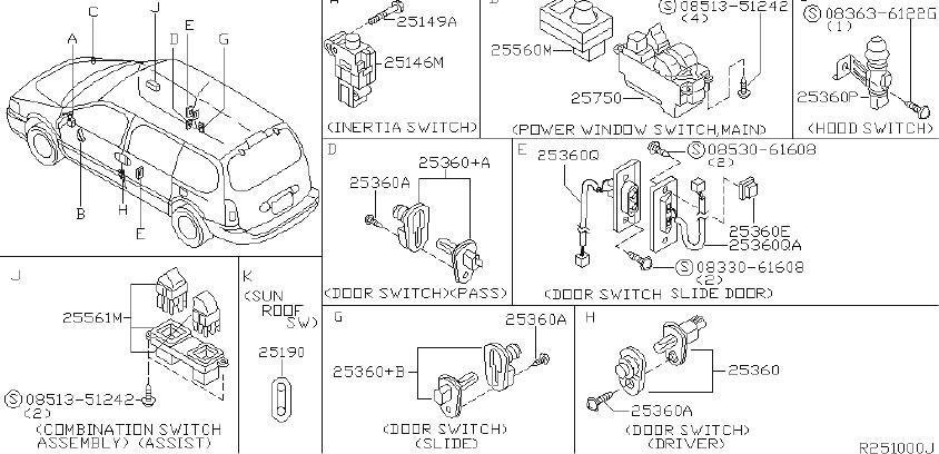Nissan Quest Power Sliding Door Switch. BODY, INSTRUMENT