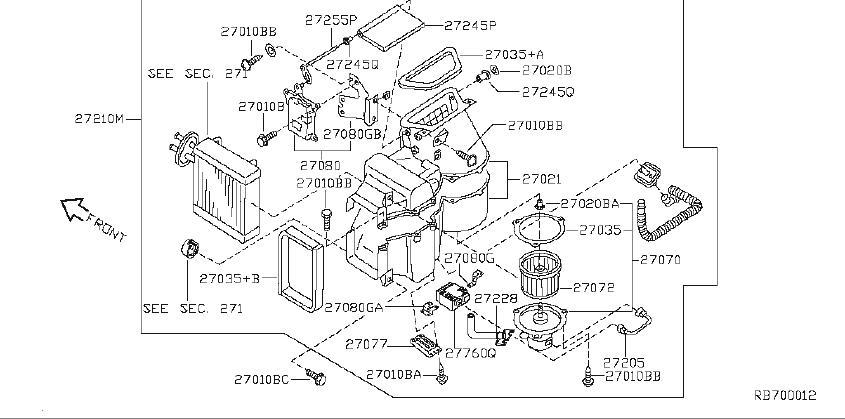 Nissan Quest Hvac heater core case (front). Blower, cooler