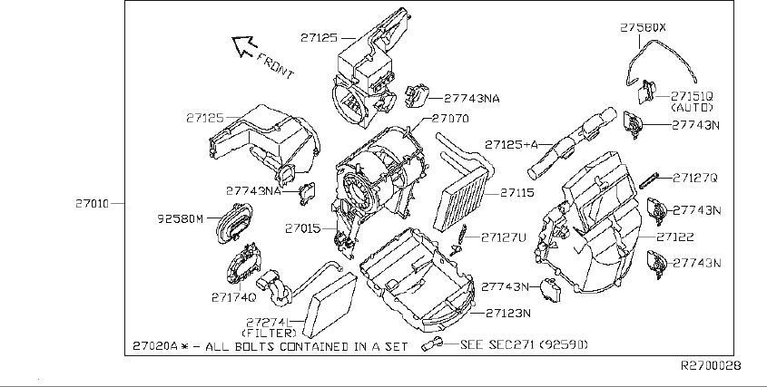 Nissan Quest Hvac Blower Motor Housing (Front). HEATER