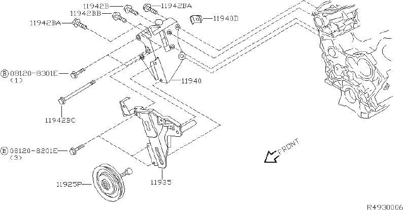 Nissan Xterra A/c drive belt idler pulley bracket