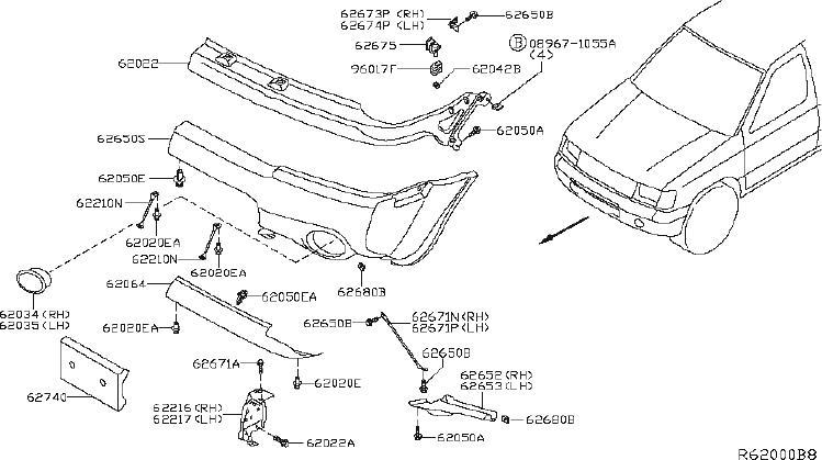 Nissan Xterra Bumper Extension (Left, Front). Trim, SAGE