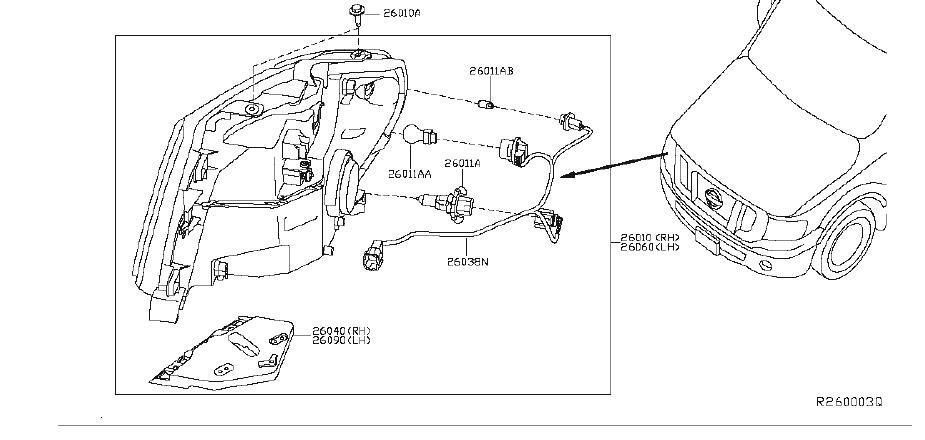 Nissan NV3500 Headlight Wiring Harness. System, HEADLAMP