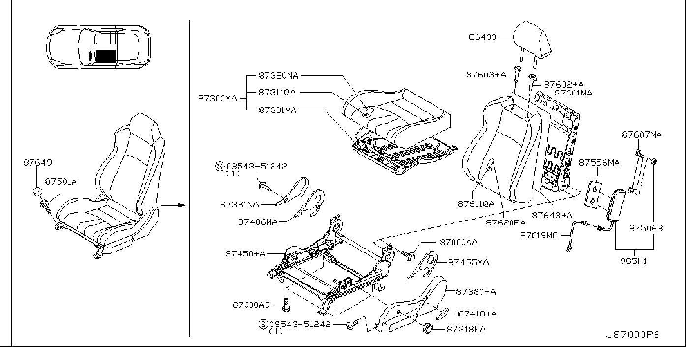 Nissan 350Z Seat Cushion Foam (Front). SIDE, BAG, AIR