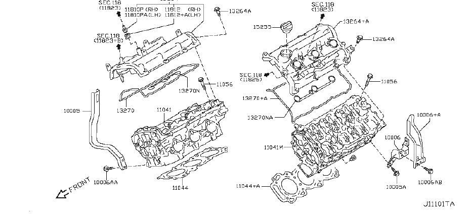 Nissan 370Z Engine Cylinder Head Bolt. COMPONENT, ASSEMBLY