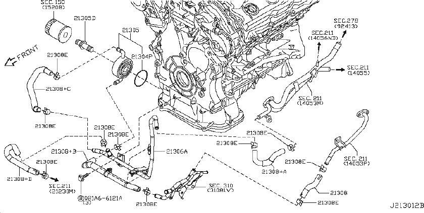 Nissan 370Z Engine Coolant Hose. DOMINICAN, COOLER, OIL