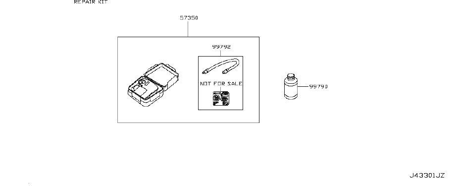 Nissan 370Z Engine Sticker. Label Caution, Spare Tire
