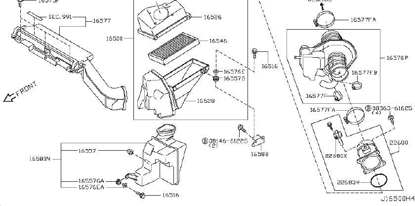 Nissan Murano Engine Air Intake Resonator Clip. CLEANER