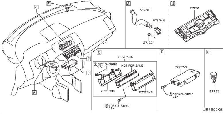 Nissan Murano Cabin Air Temperature Sensor Aspirator Tube