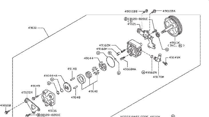 Nissan Murano Power Steering Pump Bracket. Suspension