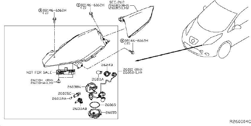 Nissan Leaf Headlight Wiring Harness. HEADLAMP, FOG, LED