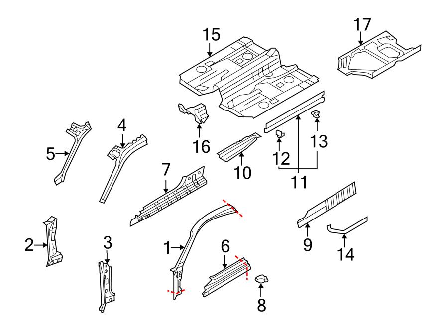 Porsche Cayman Floor Support. PILLAR, HINGE, RAILS