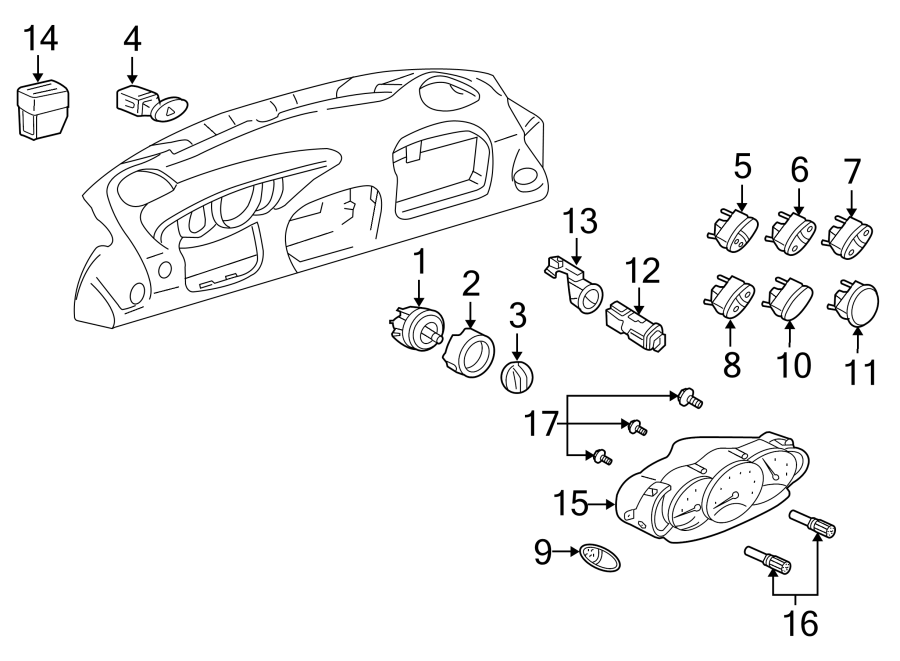 Porsche Boxster Trip Odometer Reset Stem Knob. Instrument
