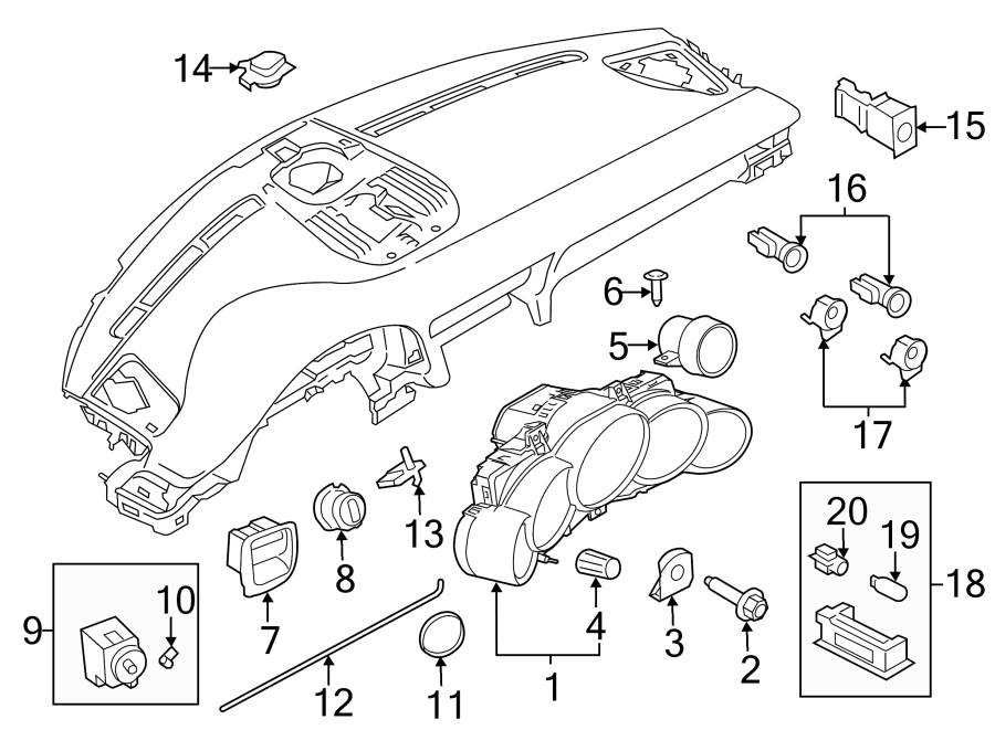 Porsche 911 Instrument Cluster. Trans, Auto, Black