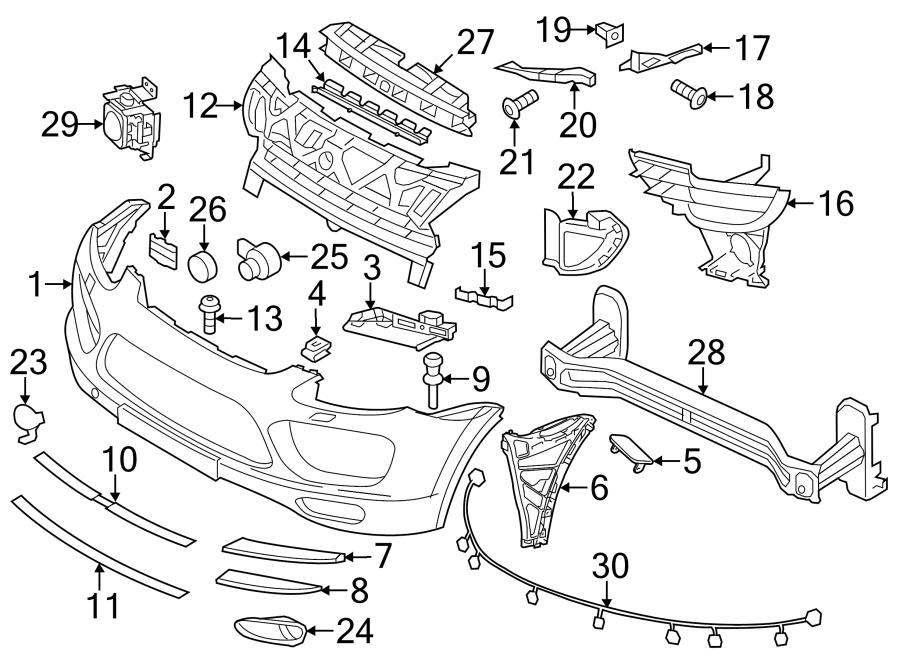 Porsche Cayenne Bumper Cover. COMPONENTS, Park, Sensor