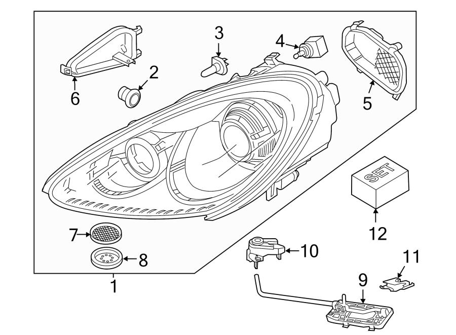 Porsche Cayenne Headlight Assembly (Left). 2011-14