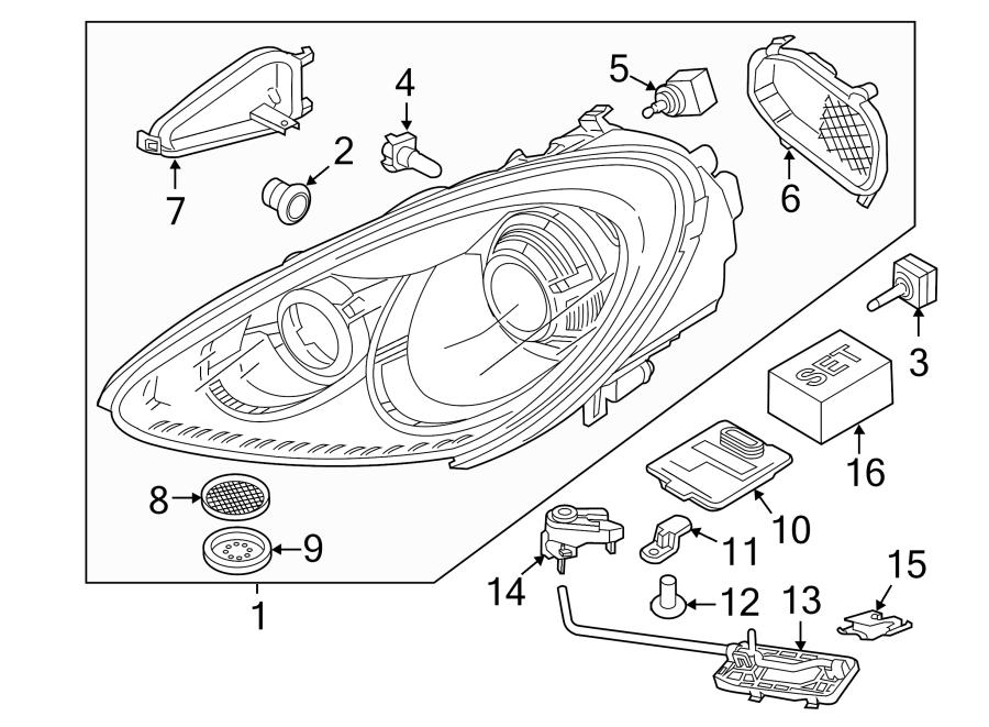 Porsche Cayenne Headlight Bracket (Front). LAMPS, XENON