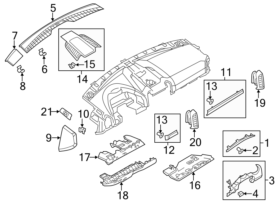 Porsche Cayenne Dashboard Air Vent (Right). Center