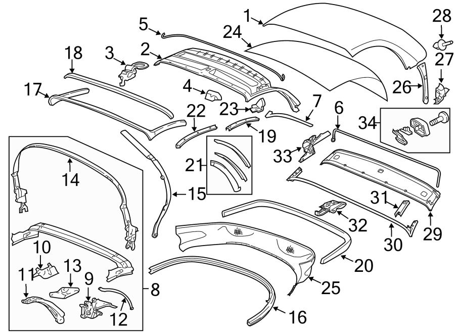 Porsche Boxster Convertible Top Assembly. CONVERTABLE Top