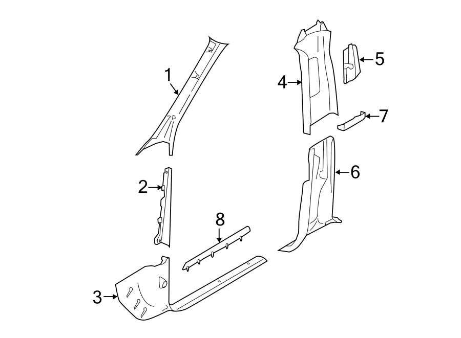 2016 Porsche Macan Door Pillar Post Trim Set (Lower). W